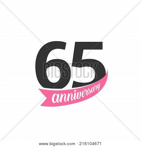 Sixty fifth Anniversary vector logo. Number 65. Illustration for greeting card, invitation, poster, marriage, commemoration, certificate