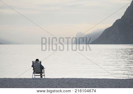 Relaxing at Garda Lake in Trentino, Alto Adige, Italy