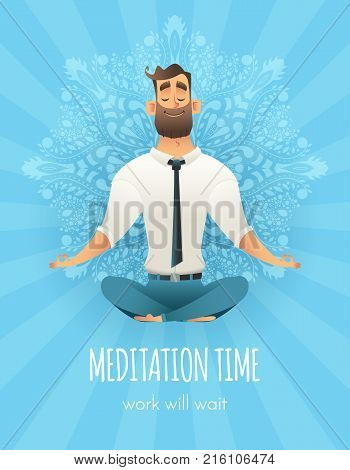 Businessman Sitting In A Lotus Pose. Manager Meditation Of Mandala Pattern On Background. The Concep