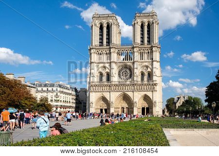 PARIS,FRANCE - AUGUST 1,2017 : The Cathedral of Notre Dame de Paris on a beautiful summer day