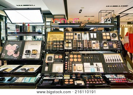ROME, ITALY - CIRCA NOVEMBER, 2017: Chanel beauty products sit on display at a second flagship store of Rinascente in Rome.