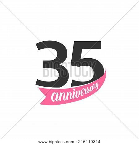 Thirty five Anniversary vector logo. Number 35. Illustration for greeting card, invitation, poster, marriage, commemoration, certificate