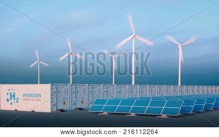 Power To Gas Concept In Nice Morning Light. Hydrogen Energy Storage With Renewable Energy Sources -