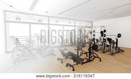 Fitness center or health club planning with CAD 3D draft (3D Rendering)
