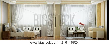 Elegant suite in hotel with bedroom and living room as panorama (3D Rendering)