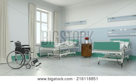 Hospital or nursing home twin room with wheelchair (3D Rendering)