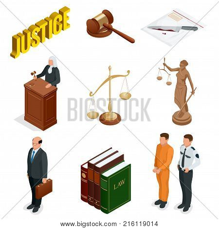 Isometric Law and Justice. Symbols of legal regulations. Juridical icons set. Legal juridical, tribunal and judgment, law and gavel, vector illustration.