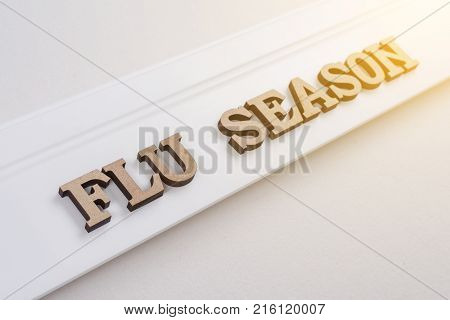 Word FLY SEASON abstract wooden letters, white background copy space