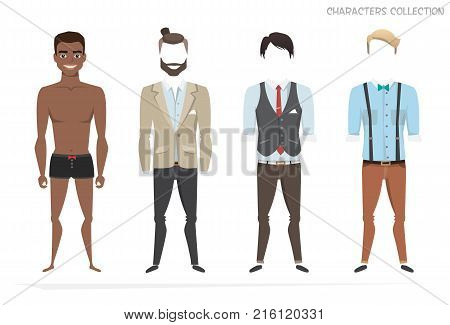 Clothing sets for black african american men. Constructor of the character. Creating a character style. Different types of attire for a guy. Cartoon style.