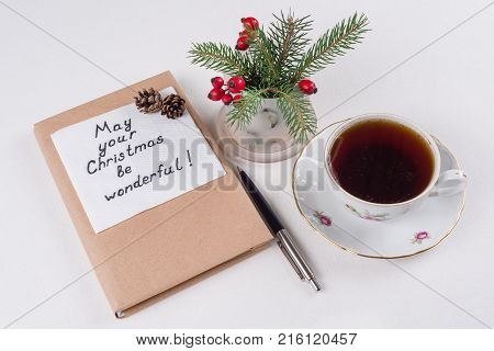 Merry Christmas greetings or wishes - Handwritten text with wishes on a napkin - May your Christmas be wonderful
