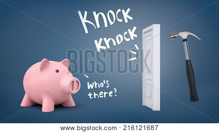 3d rendering of a large piggy bank stands near a door when a large hammer knocks on it with words indicating the sound. Welcome danger. Financial decisions. Time to spend money.