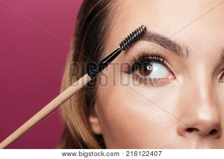 Cropped photo of young beautiful lady paint eyebrow with brush isolated over pink