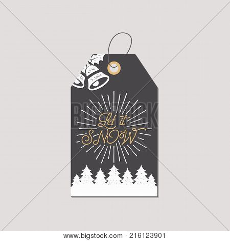 Merry Christmas and New Year gift tag. Holiday card concept with xmas symbols - tree, bells. Let it snow quote sign. Retro colors pallete. Stock Vector illustration isolated on white background.