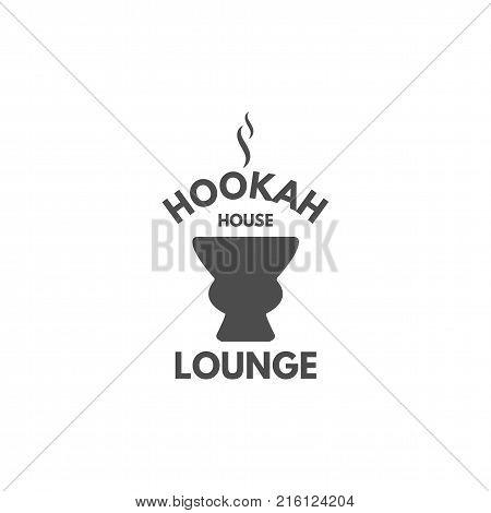 Hookah relax label, badge. Vintage shisha logo with hookah bowl symbol. Lounge cafe emblem. Arabian bar or house, shop. Isolated. Stock illustration. Monochrome design.