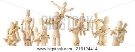 14 wooden figures of parents and children isolated on white, collage