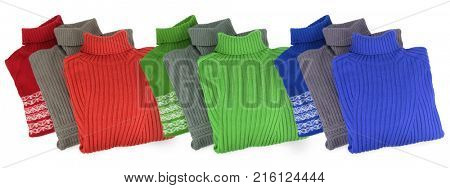 Nine new red, green, blue sweaters isolated on white, collage
