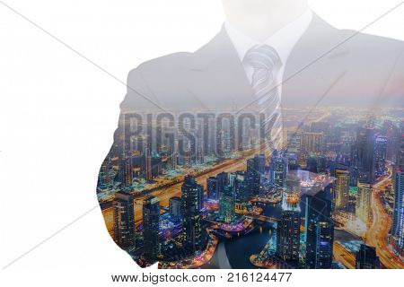 Businessman in suit and tie and view of city with skyscrapers at night, collage, noface