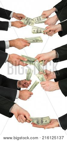 Five pairs of businessmen hands giving and taking dollars isolated on white, collage