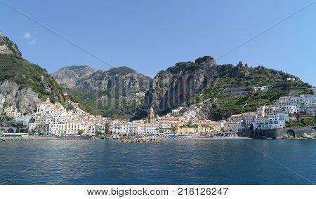 Sea at Amalfi Coast in summer - Naples Italy