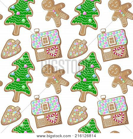 Gingerbread pine tree man and house vector pattern. Christmas tree gingerbread seamless pattern on white background. New Year seasonal decor. Christmas gift wrapping paper. Traditional winter cookie