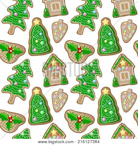 Christmas tree and holly jolly gingerbread figurines vector pattern. Christmas gingerbread seamless pattern on white background. New Year or Christmas gift wrapping paper. Winter holiday season print