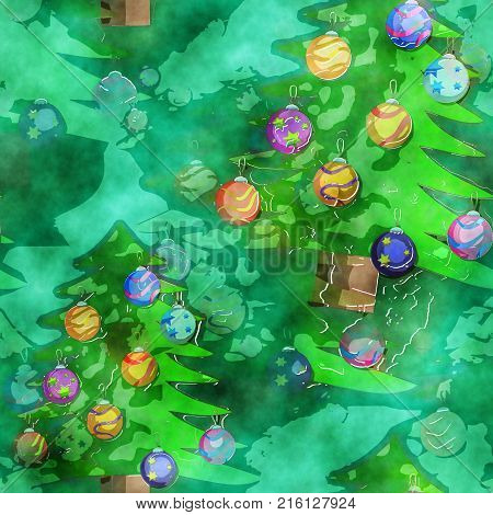 A seamless watercolor textile background with green Christmas trees.