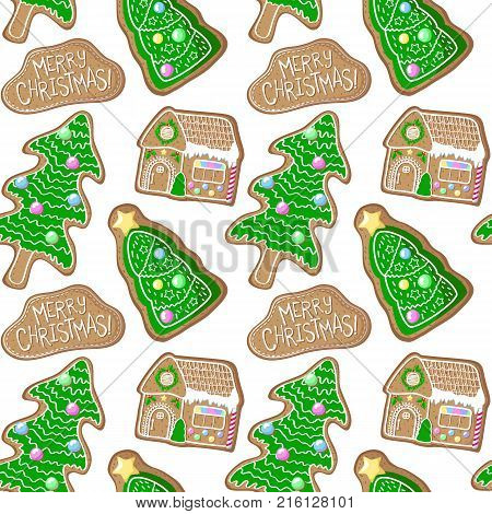 Green pine tree and house gingerbread figurines vector pattern. Christmas gingerbread seamless pattern on white background. New Year seasonal decor. Christmas gift wrapping paper. Gingerbread pattern