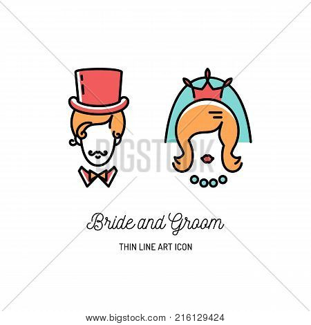Bride Groom Icons Wedding couple signs. Valentine love symbols, Vector flat illustration