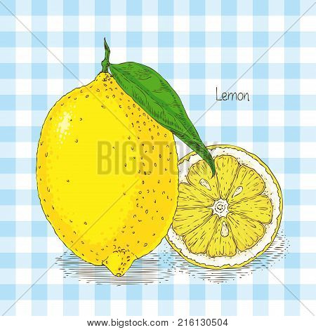 Card with Ripe Yellow Lemon with Green Leaf on Light Blue Plaid Background