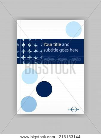 Blue A4 Business Book Cover Design Template. Good for Portfolio Brochure Annual Report Flyer Magazine Academic Journal Website Poster Monograph Corporate Presentation Conference Vector.