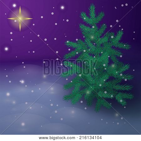 Star of Bethlehem. Christmas star. Navidad. Vector illustration with christmas pine tree, snowflakes and night sky