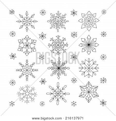 Hand drawn snowflakes, Doodle snowflakes unique hand drawn style. Design elements for holiday greeting cards. Vector xmas decoration symbols, snowflake icon