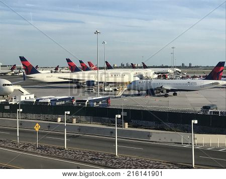NEW YORK, NY - AUG 23: Delta Airlines planes at John F. Kennedy Airport in New York, as seen on Aug 23, 2017.