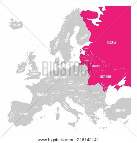 Former Union of Soviet Socialist Republics, USSR, Russia, Ukraine, Belarus, Estonia, Latvia, Lithuania and Moldova pink highlighted in the political map of Europe. Vector illustration.