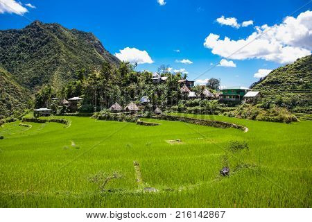 Village in 2000-year old Batad Rice Terraces, UNESCO Heritage, Central Luzon on Philipines, Southeast Asia