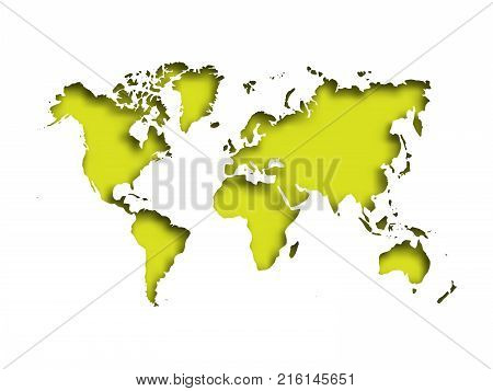 Map of World cut into paper with inner shadow isolated on green background. Vector illustration with 3D effect.