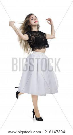Girl In White Skirt Posing.