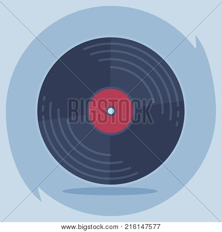 Vinyl record disc. Logo for web or app. Disco music vinyl isolated on creative background. Vector illustration