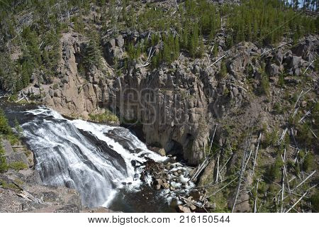 Gibbon Falls at Yellowstone National Park in the USA