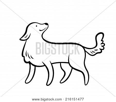 Vector frendly dog isolated on white background