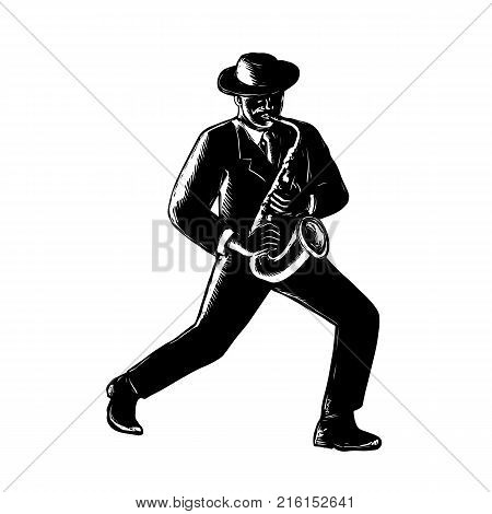 Retro woodcut style illustration of an African-American black jazz musician playing sax or saxophone viewed from front in black and white.
