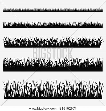 Grass icon set. Vector grass border collection.