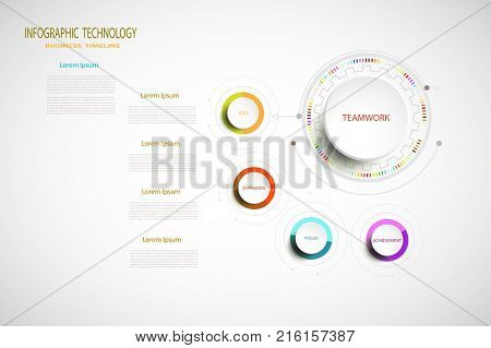 Infographic technology template digital and engineering telecoms 4 step Used for your business timelinebook covertemplatebannerdiagram presentation flowchartstepsparts workflow layoutchart