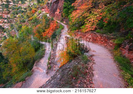 The Hidden Canyon Trail of Zion National Park is a series of exposed switchbacks winding high above Zion Canyon