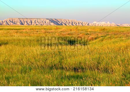 Vast prairie of Buffalo Gap National Grassland in South Dakota poster