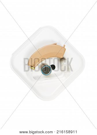 Hearing aid isolated on white background, health concept, hearing loss, audiometric hearing test.
