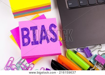 Bias Text Written On Tablet, Computer In The Office With Marker, Pen, Stationery. Business Concept F