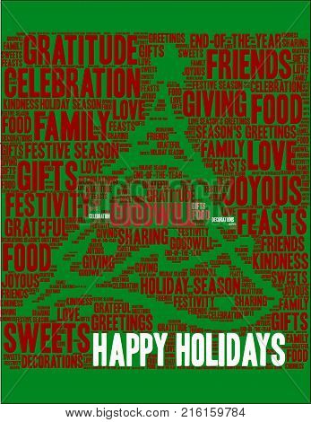 Happy Holidays Word Cloud On A Green Background.