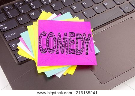 Writing Comedy Text Made In The Office Close-up On Laptop Computer Keyboard. Business Concept For St