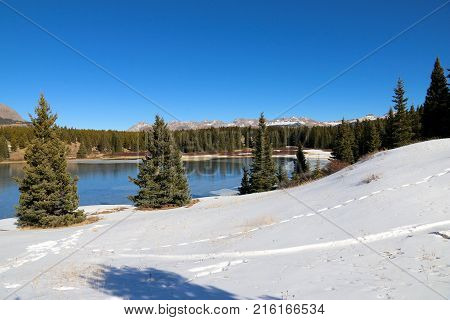 Icy Andrew Lake in San Juan National Forrest in CO
